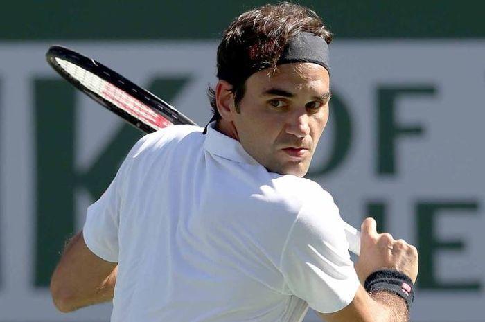 Roger Federer saat mengahadapi Hubert Hurkacz di babak perempat final Indian Wells 2019 (15/3/2019)