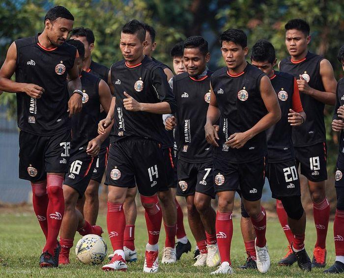 Pemain Persija dalam latihan jelang laga melawan Barito Putera, Sabtu (21/9/2019)