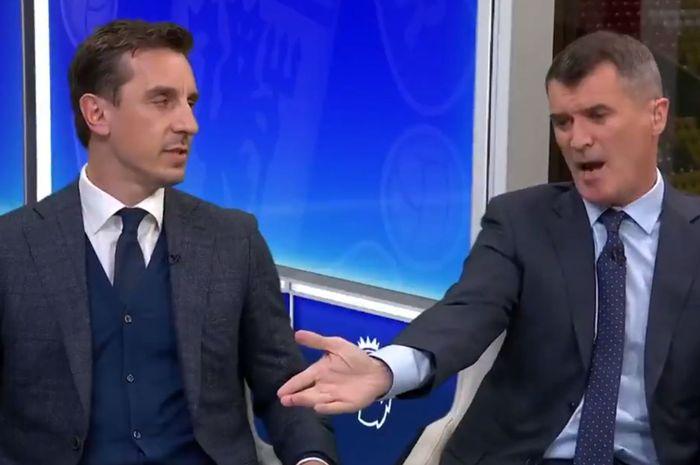 Dua legenda Manchester United, Gary Neville dan Roy Keane, berargumen di studio Sky Sports saat menganalisis Derbi Manchester, Kamis (25/4/2019).