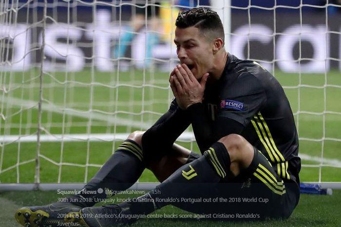 Penyerang Juventus, Cristiano Ronaldo, berekspresi dalam laga leg I babak 16 besar Liga Champions kontra Atletico Madrid di Stadion Wanda Metropolitano, 20 Februari 2019.