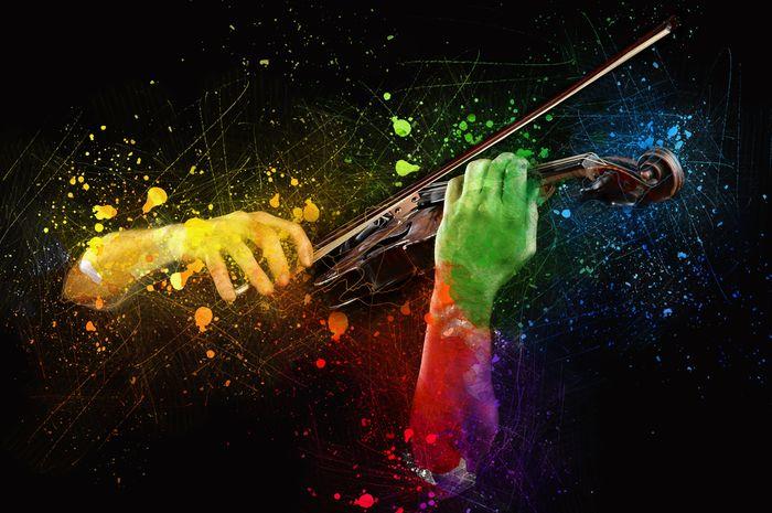 Ilustrasi bermain musik.