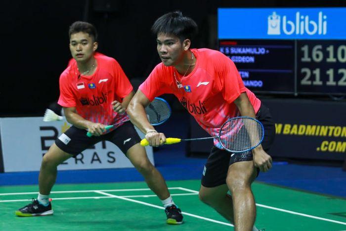 Pasangan ganda putra Indonesia, Leo Rolly Carnando/Daniel Marthin, pada pertandingan Simulasi Piala Thomas 2020 di Pelatnas PBSI, Cipayung, Jakarta, Selasa (3/9/2020).