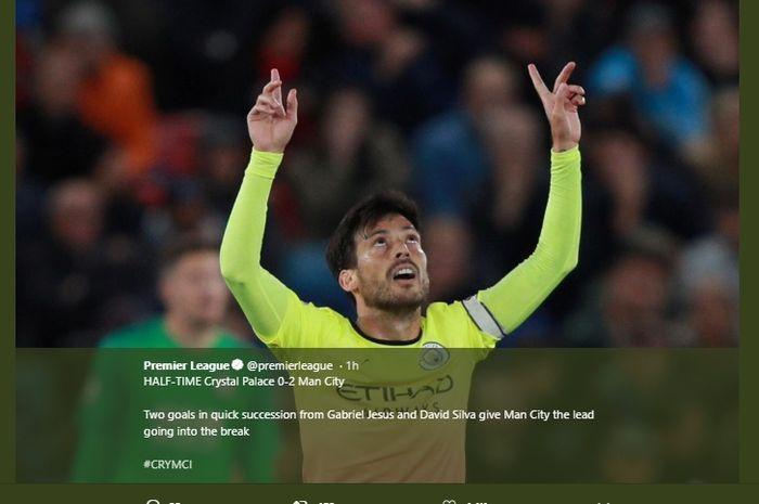 Selebrasi David Silva usai mencetak gol ke gawang Crystal Palace  di Selhurst Park, pada laga lanjutan Liga Inggris pekan ke-9, Sabtu (19/10/2019).