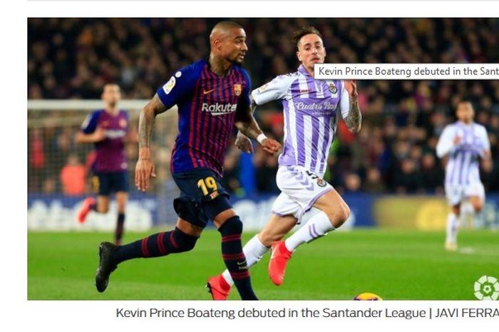 Aksi Kevin-Prince Boateng saat Barcelona menjamu Real Valladolid di Camp Nou dalam lanjutan Liga Spanyol pekan ke-24, Minggu (17/2/2019) dini hari WIB.