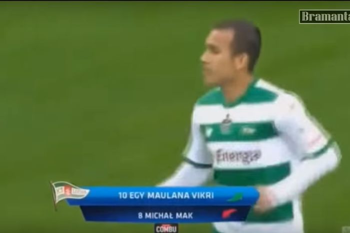 Egy Maualan Vikri saat masuk menggantikan Michal Mak pada menit ke-88, saat Lechia Gdansk menang 2-0 atas Jagiellonia Bialystok pada laga terakhir Ektraklasa pekan k-37 di Stadion Energa Gdansk, Minggu (19/5/2019).