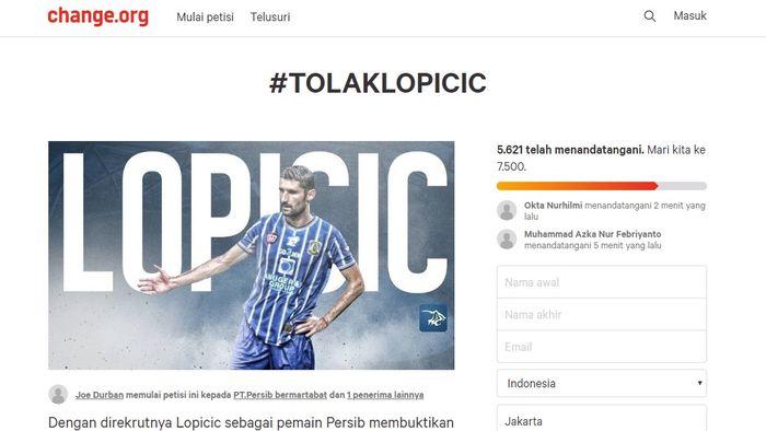 Petisi penolakan Srdjan Lopicic di laman Chance.org