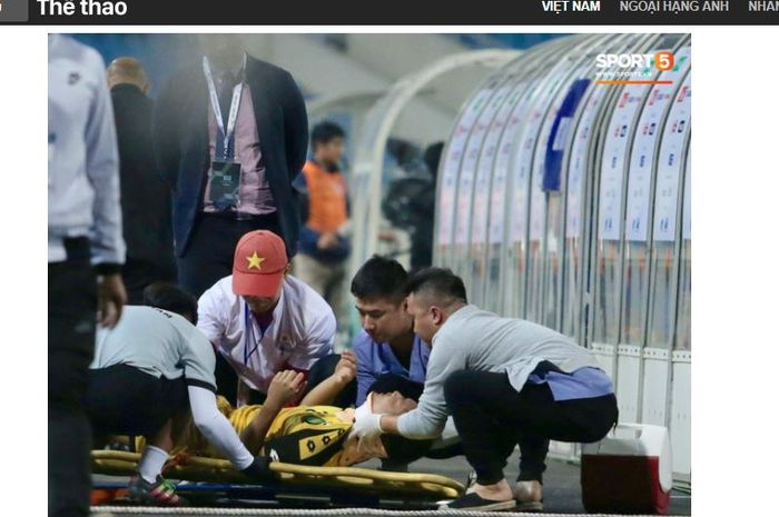 Bek Bruneri, Muhammad Salleh Emzah, mengalami cedera di leher pasca terlibat insiden dengan pemain Thailand.