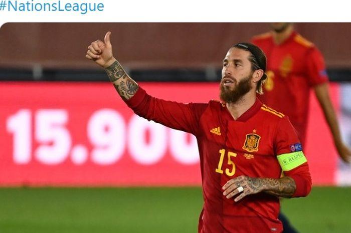 Sergio Ramos kala memperkuat timnas Spanyol.