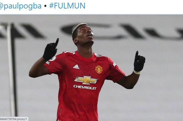 Paul Pogba mencetak gol jarak jauh untuk pertama kalinya bagi Manchester United dengan kaki kiri laga melawan Fulham di Craven Cottage, Kamis dini hari WIB.