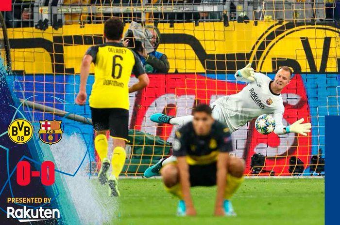 Kiper Barcelona, Marc-Andre ter Stegen disinyalir melakukan penyelamatan ilegal saat menepis tendangan penalti Marco Reus saat Barcelona menahan Dortmund di BVB Stadion Dortmund, Selasa (17/9/2019) atau Rabu dini hari WIB.