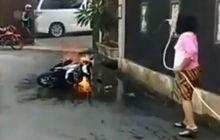 Diduga Taruh Handphone di Bagasi Motor, Yamaha Mio Hangus Dilalap Api