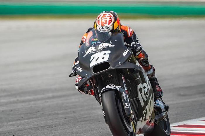 Pembalap Penguji Red Bull KTM, Dani Pedrosa, saat jalani sesi tes pramusim MotoGP 2020 di Sirkuit Sepang, Malaysia, Sabtu (8/2/2020)
