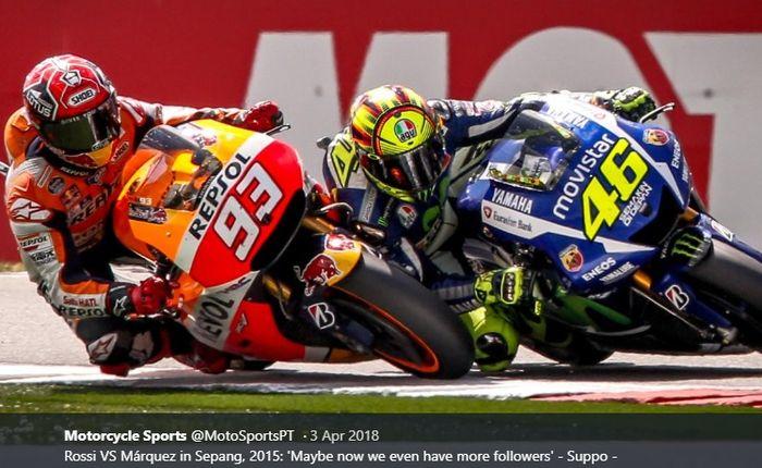 Marc Marquez dan Valentino Rossi pernah terlibat dalam insiden dalam balapan MotoGP Malaysia di Sirkuit Sepang, Malaysia, 25 Oktober 2015.