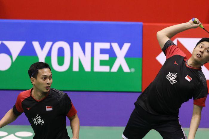 Mohammad Ahsan/Hendra Setiawan saat tampil pada babak semifinal Hong Kong Open 2019 yang digelar di Hong Kong Coliseum, Hong Kong, Sabtu (16/11/2019).