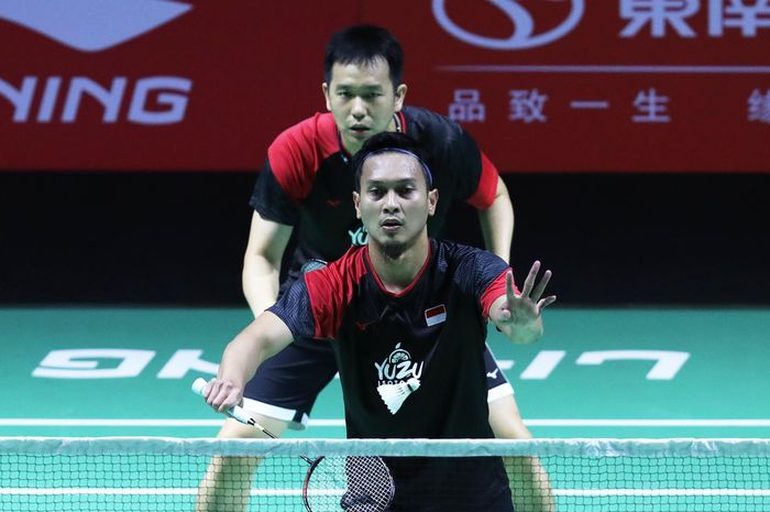 Mohammad Ahsan/Hendra Setiawan saat tampil pada babak kedua Fuzhou China Open 2019 di Haixia Olympic Sports Center, Fuzhou, China, Kamis (7/11/2019).
