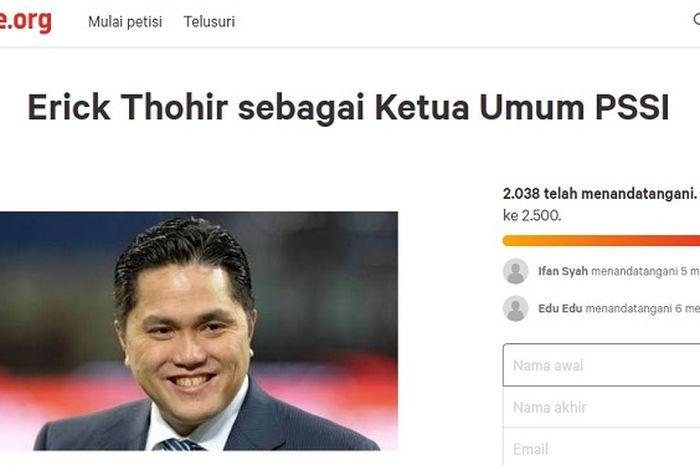 Lebih dari 2.000 orang teken petisi agar Erick Thohir jadi Ketua Umum PSSI.