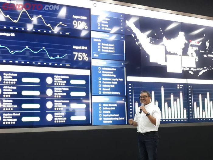 Ilustrasi data Fleet Management Service di ruang command center United Tractors