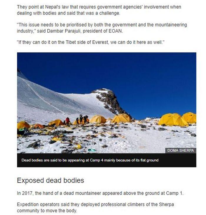 Mayat-mayat para pendaki di Gunung Everest tiba-tiba muncul