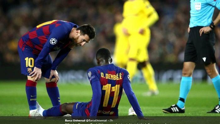 Penyerang Barcelona, Ousmane Dembele, cedera dalam laga melawan Borussia Dortmund pada Rabu (27/11/2019).