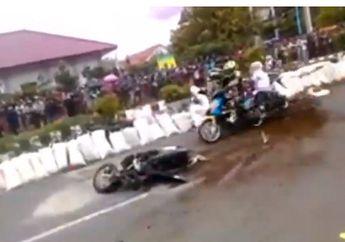 Video Pembalap Road Race Terjungkal Tabrak Karung Pembatas, Baru Berdiri Langsung Ditabrak, Ngeri