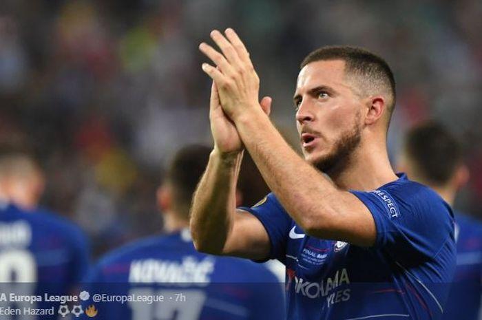 Bintang Chelsea, Eden Hazard, merayakan golnya dalam final Liga Europa kontra Arsenal, 29 Mei 2019 di Stadion Olimpiade Baku, Azerbaijan.