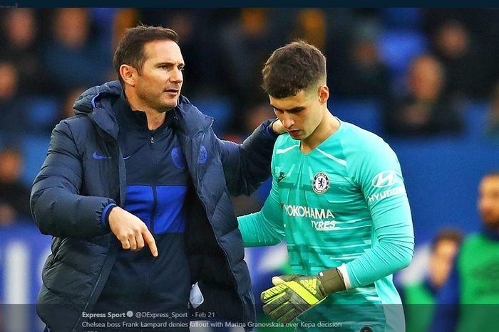 Frank Lampard (kiri) dan Kepa Arrizabalaga.