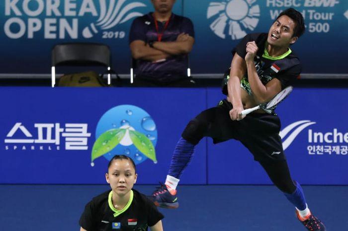 Tontowi Ahmad/Winny Oktavina Kandow saat berlaga di babak pertama Korea Open 2019, di Sky Dom, Incheon, Korea Selatan, Selasa (24/9/2019).