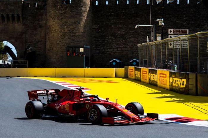 Pembalap Ferrari, Sebastian Vettel saat beraksi pada babak kualifikasi GP F1 Azerbaijan 2019, Sabtu (27/4/2019)