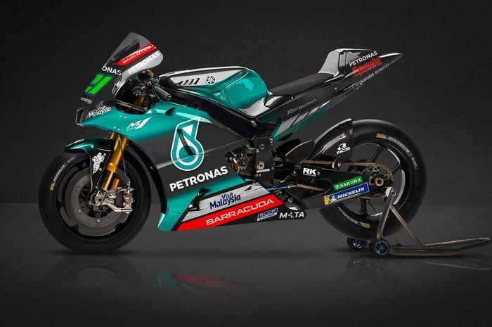 Livery tim Petronas Yamaha SRT terlihat mirip dengan tim Mercedes AMG Petronas di Formula 1