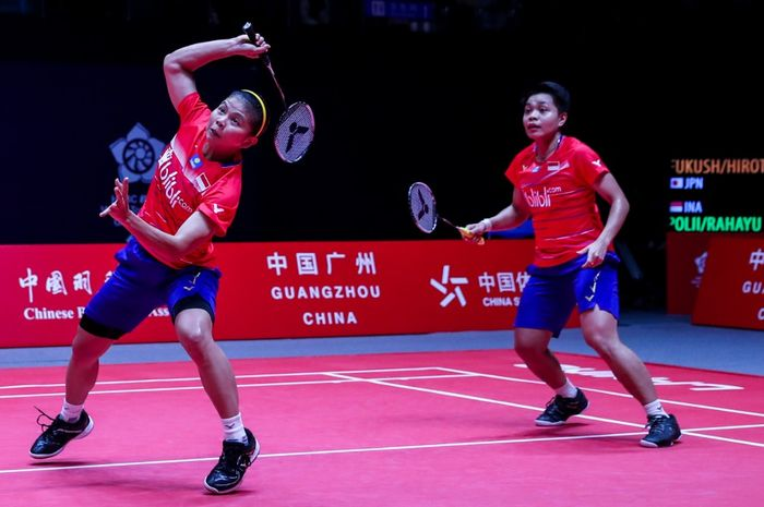 Aksi Greysia Polii/Apriyani Rahayu pada laga pertama Grup A BWF World Tour Finals 2019, Rabu (11/12/2019)