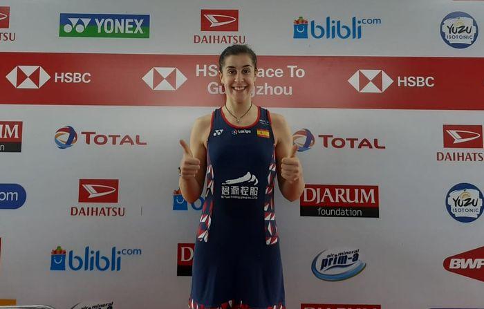 Pebulu tangkis tunggal putri Spanyol, Carolina Marin, berpose seusai melakoni konferensi pers laga semifinal Indonesia Masters 2020.