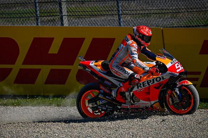 Pembalap Repsol Honda, Marc Marquez, pada balapan MotoGP Italia di Sirkuit Mugello, Minggu (30/5/2021).