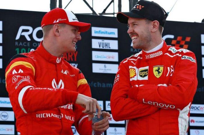 Mick Schumacher dan Sebastian Vettel