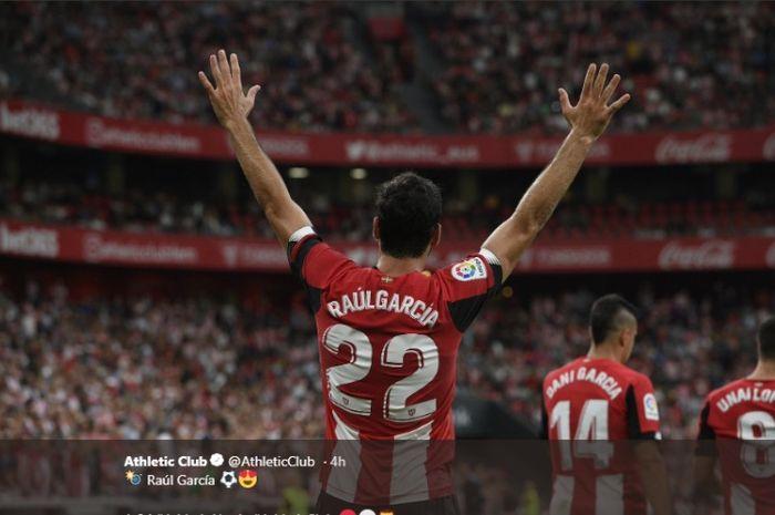 Raul Garcia saat mencetak gol untuk Athletic Bilbao ke gawang Alaves pada laga Liga Spanyol jornada kelima, Minggu (22/9/2019)