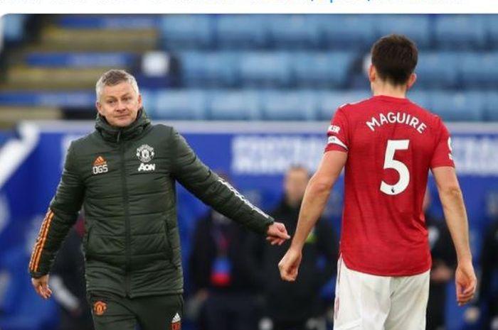 Pelatih Manchester United, Ole Gunnar Solskjaer (kiri), ingin memasangkan Harry Maguire (kanan) dengan penerusnya di Leicester City.