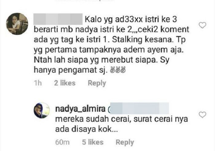 Jawaban Nadya Almira saat dituduh merebut suami orang juga