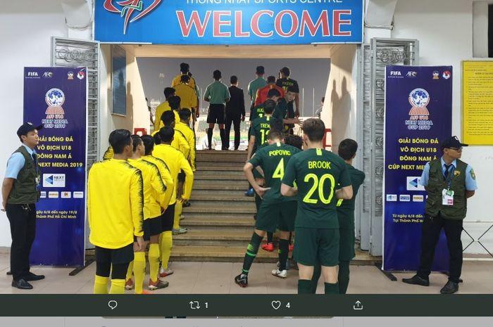 Para pemain Malaysia Vs Australia dalam final Piala AFF U-18 2019, di Stadion Thong Nhat, Vietnam, Senin (19/8/2019) malam WIB.
