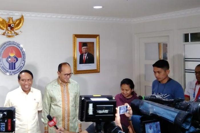 Menpora Zainudin Amali bertemu dengan CdM Kontingen Indonesia untuk Olimpiade Tokyo 2020, Rosan Roeslani, di Kementerian Pemuda dan Olahraga, Kamis, (9/1/2020).