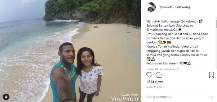 Postingan kekasih Marinus Wanewar di media sosial Instagram yang diunggah pada, Minggu (24/2/2019).