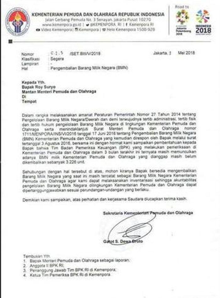 surat Kemenpora untuk Roy Suryo