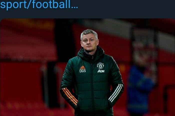 Ekspresi pelatih Manchester United, Ole Gunnar Solskjaer.