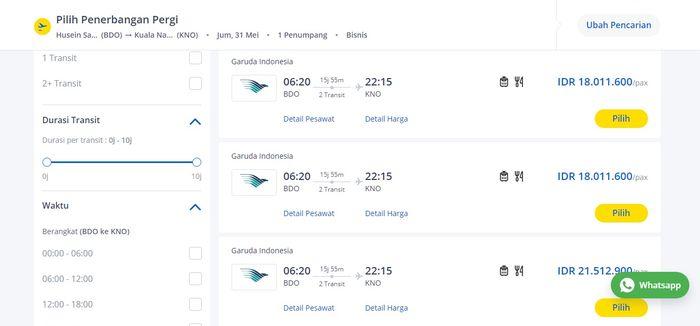 Harga tiket pesawat rute di Tiket.com