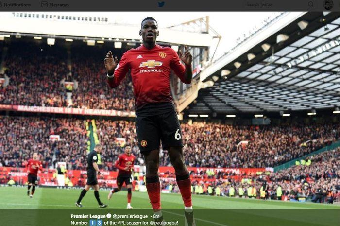 Selebrasi Paul Pogba usai mencetak gol ke gawang West Ham United pada laga lanjutan Liga Inggris, Sabtu (13/4/2019).