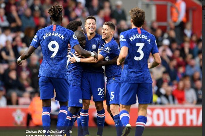 Selebrasi pemain Chelsea saat menang atas Southampton, di St Mary's Stadium, pada laga pekan ke-8 Liga Inggris, Minggu (6/10/2019).