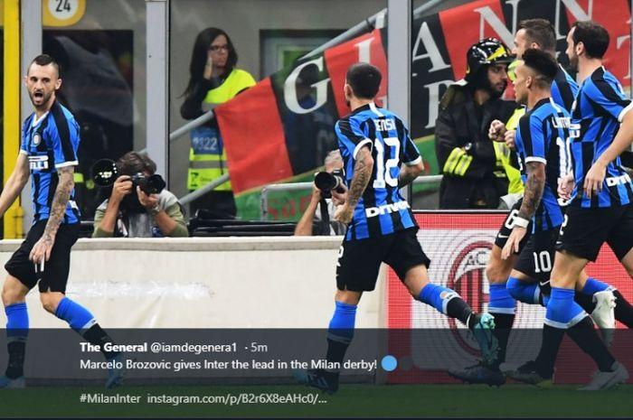 Marcelo Brozovic mencetak gol untuk Inter Milan kontra AC Milan di Liga Italia, Minggu (22/9/2019)