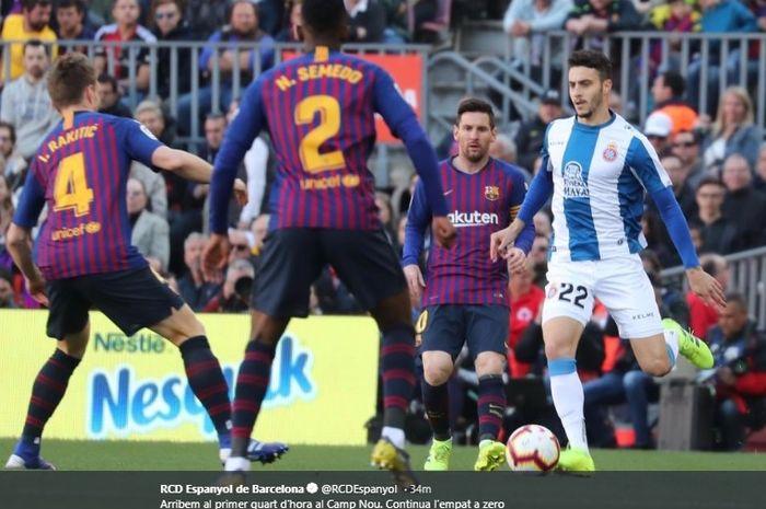 Laga derbi Catalunya antara Barcelona kontra Espanyol pada laga lanjutan Liga Spanyol, Sabtu (30/3/2019).