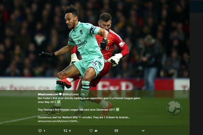Striker Arsenal, Pierre-Emerick Aubameyang saat mencetak gol ke gawang Watford, pada lanjutan Liga Inggris pekan ke-34, Senin (15/4/2019).