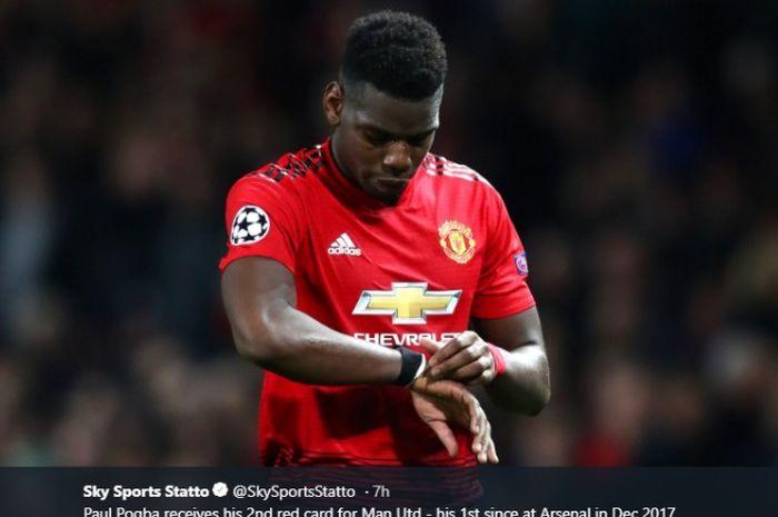 Paul Pogba kedapatan marah usai dikartu merah pada laga Manchester United vs PSG