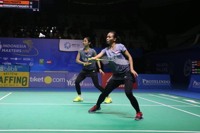 Ganda putri Indonesia, Della Destiara Haris/Rizki Amelia Pradipta pada laga final Indonesia Masters 2019, Minggu (6/10/2019)