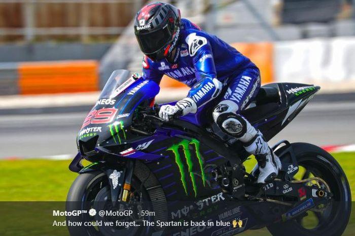 Aksi Jorge Lorenzo bersama Yamaha pada shakedown test MotoGP 2020, Selasa (4/2/2020)